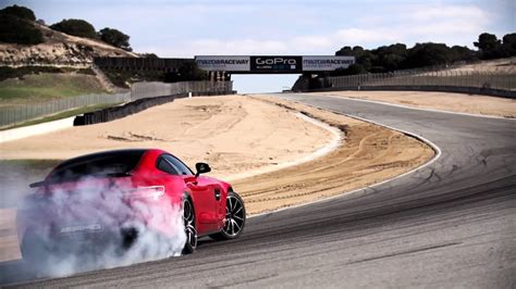 red mercedes amg gt s drifting on laguna seca   SSsupersports