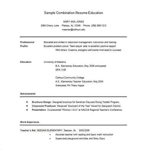 combination resume template 10 free word excel pdf format free premium templates