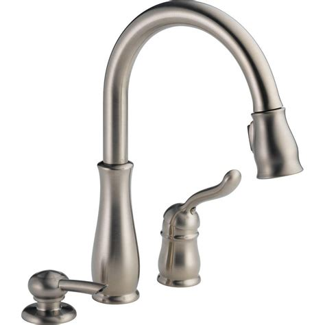 single handle pulldown kitchen faucet leland single handle pulldown kitchen faucet with soap