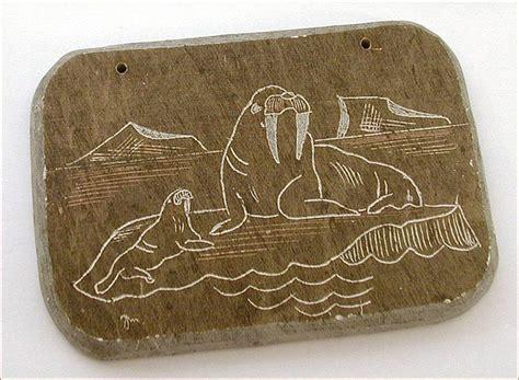 American Soapstone Inuit Soapstone Carving Plaque Walrus On Iceberg Artwork