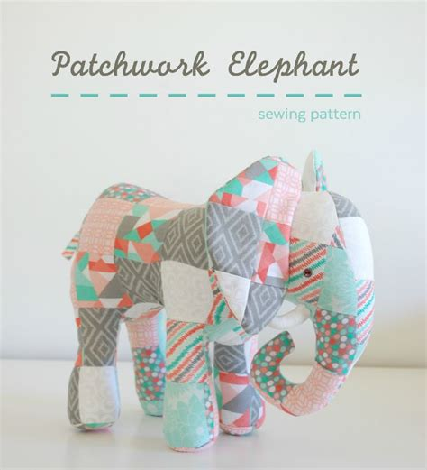 Patchwork Stuffed Animal Patterns - patchwork elephant whileshenaps