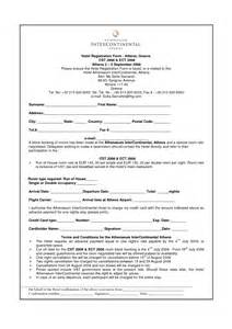 hotel registration form template hotel registration card sle