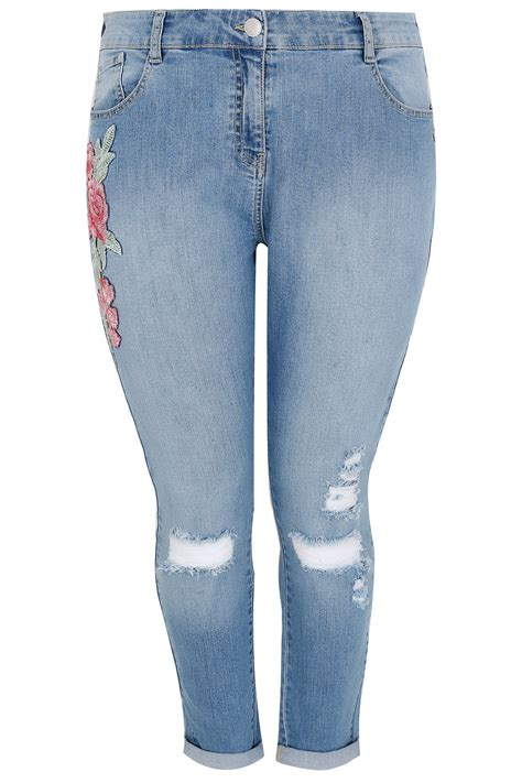 Modell S Gift Card Balance Check - mid blue floral embroidered ripped boyfriend jeans plus size 16 to 32