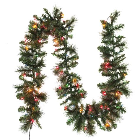 trim a home 174 mixed pine pre lit christmas garland with