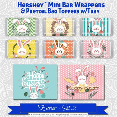 Mini Candybag With Premium Tag easter hershey mini s bar wrapper printable favor bag tag happy easter set2 rabbit bunny