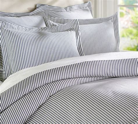 blue ticking comforter thatcher ticking stripe duvet cover sham navy blue
