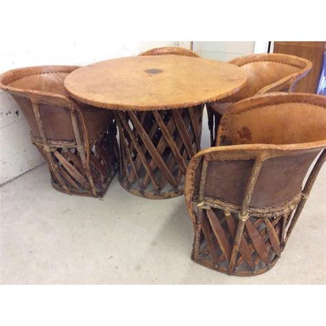 vintage mexican equipale  leather barrel chairs table