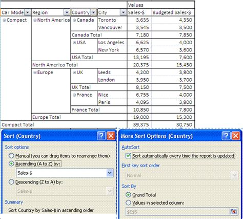 excel pivot table report sort data in row column