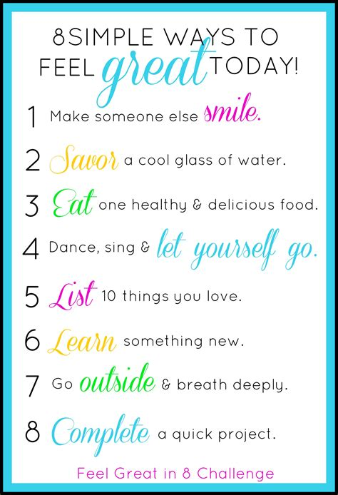 8 Ways To Feel Closer After by 8 Simple Ways To Feel Great Today Feel Great In 8