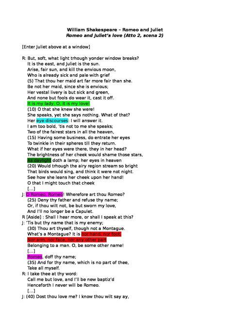 romeo and juliet testo e traduzione letteratura inglese analisi e traduzione william