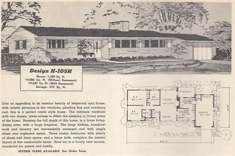 elegant 1950s ranch house floor plans new home plans design vintage ranch house plans elegant vintage house plans 105h