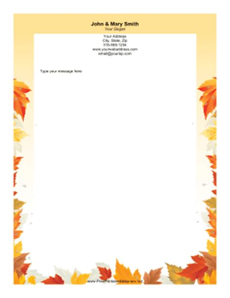printable autumn stationery autumn leaves stationery