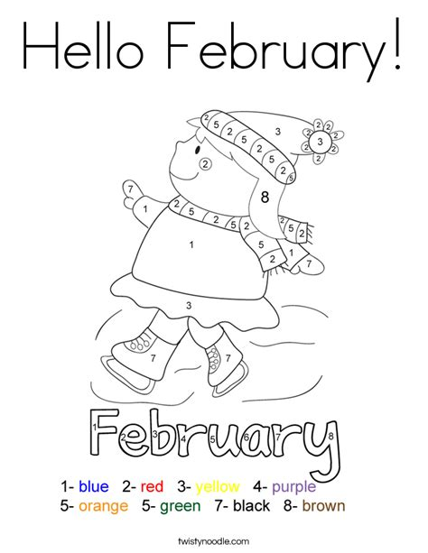 hello february coloring page twisty noodle