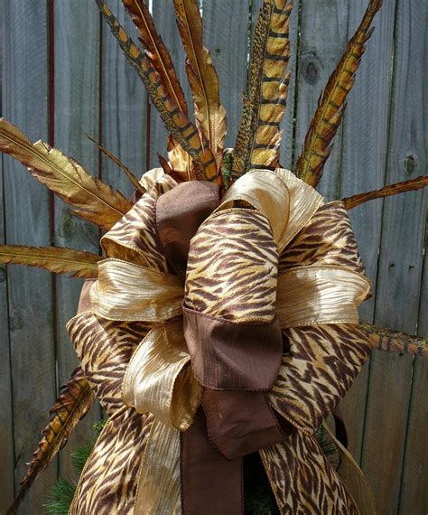 feather christmas tree topper tree topper copper brown and gold tree top bow animal print with feathers