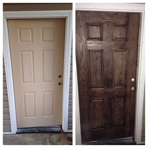 Paint Or Stain Fiberglass Exterior Doors Before And After Of My Fiberglass Garage Door I Didn T Even Use A Whole 1 2 Pint Container Of