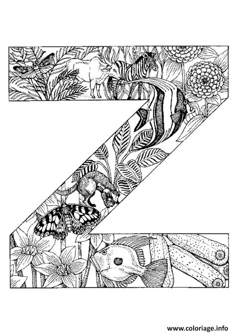 Animaux Z by Coloriage Lettre Z Alphabet Animaux Jecolorie