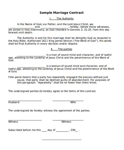 Contract Agreement Letter Exle marriage agreement template 28 images 10 marriage