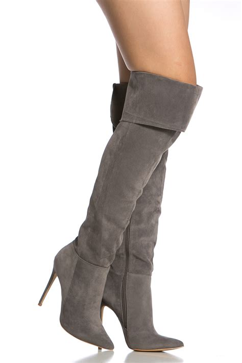 grey faux suede pointed toe thigh high boots cicihot