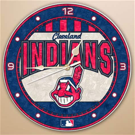 mlb cleveland indians mat small 20 x 30 in cleveland indians mlb 12 quot glass wall clock