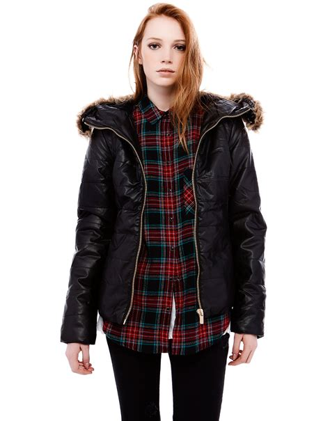 Pull And Anorak Quilted Jacket Black pull quilted leather jacket in black lyst