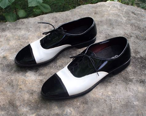 black and white two toned mens retro dress shoes size 9 1 2