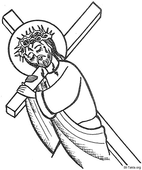 coloring pages jesus carrying cross image jesus coptic carry cross 05