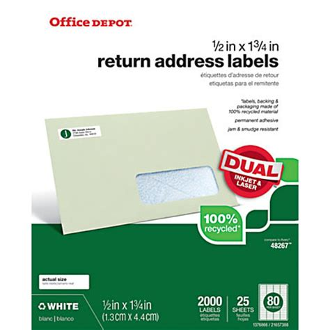 printable labels office depot office depot brand 100percent recycled mailing labels 12 x