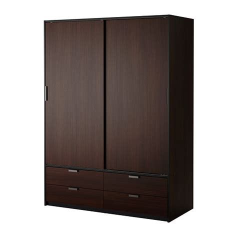 trysil wardrobe w sliding doors 4 drawers brown