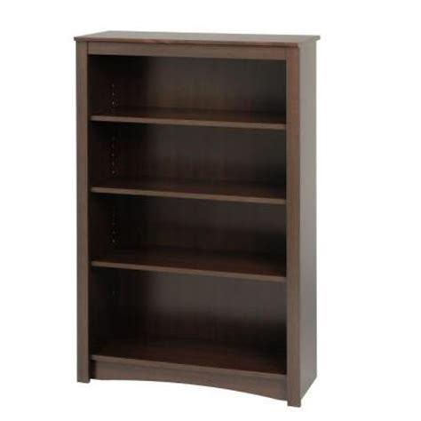 prepac 4 shelf bookcase in espresso edl 3248 the home depot