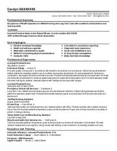 Resume Sles For Licensed Vocational Licensed Vocational Resume Exle Special Care Universal City