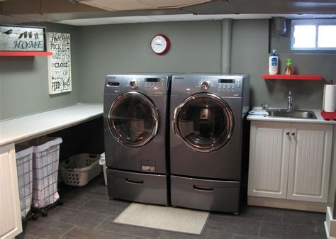 industrial laundry room stay practical using laundry baskets on wheels