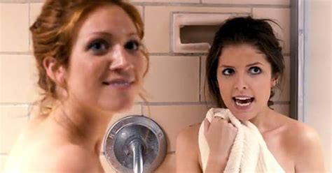 pitch perfect bathroom scene anna kendrick filming shower scene with brittany snow in