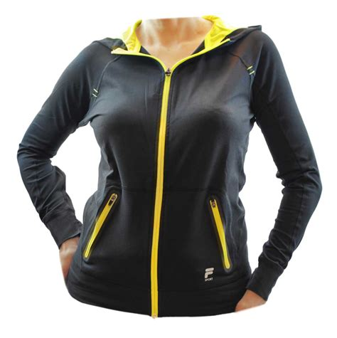 fila sport womens high performance reflective stretch hoodie jacket media pocket