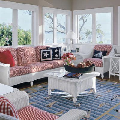 nautical living rooms patriotic sun room red gingham cushions white wicker