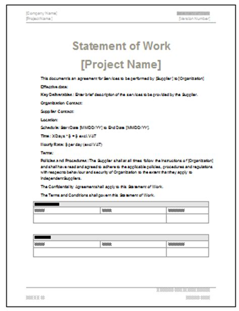 Statement Of Work Ms Word Excel Template Sow Contract Template