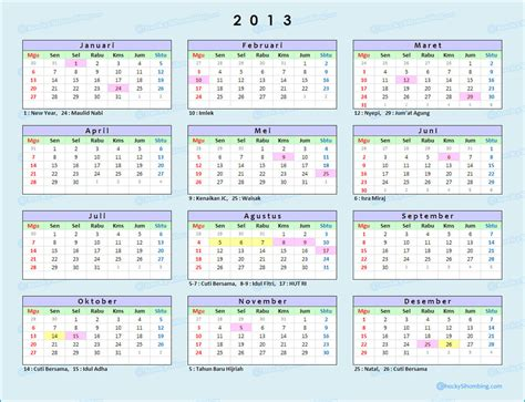 Calendar Of 2013 Kalender 2013 Annisa Puspa Kirana Staff Ub