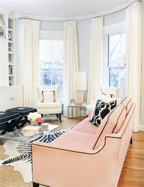 Pink Sofa Contemporary Living Room Erin Gates Design