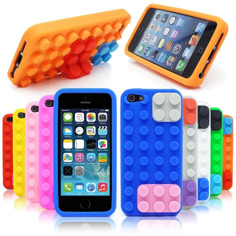 3d Building Blocks Brick Style Soft Silicone Iphone 6 Black 3d building blocks lego brick soft silicone stand cover for iphone 5s 5 ebay