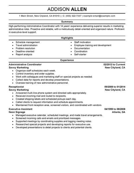 resume format for office coordinator administrative coordinator resume exles social services resume sles livecareer