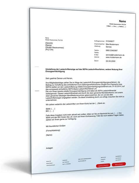 Muster Bearbeitungsgeb Hr Kredit Zur Ckfordern Umstellung Auf Sepa Lastschriftverfahren Muster Zum