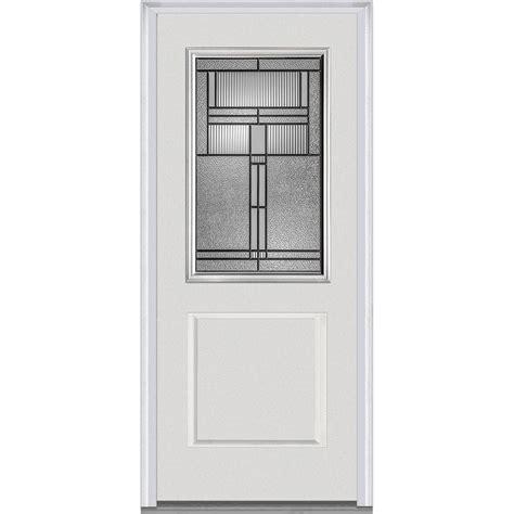 Fiberglass Exterior Doors With Glass Mmi Door 37 5 In X 81 75 In Brighton Decorative Glass 1 2 Lite 1 Panel Primed Fiberglass