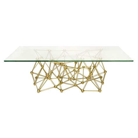 Gold Table L Base by Worlds Away Molecule Gold Leaf Iron Coffee Table Base Only