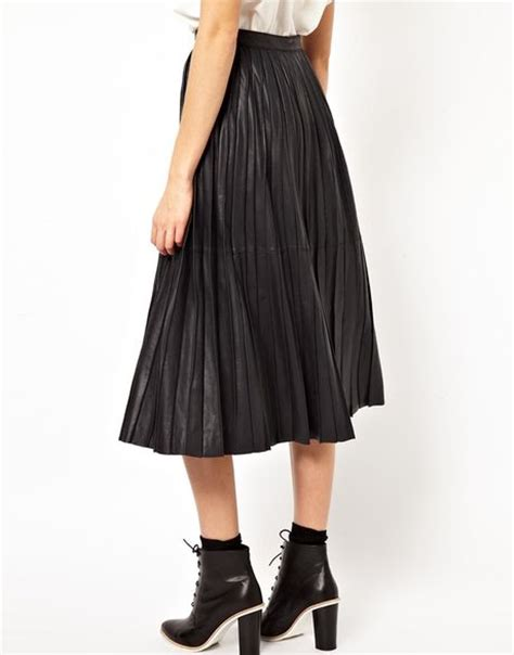 asos white midi skirt in pleated leather in black blue