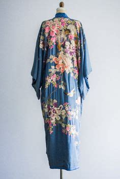 colorful robes sold antique blue silk kimono robe with colorful