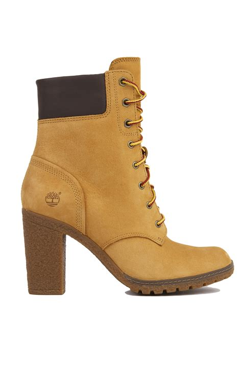 heeled boots timberland glancy 6 inch heeled boots wheat nubuck in