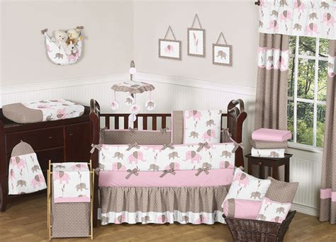 baby girl elephant crib bedding unique discount pink and brown mod elephant designer baby