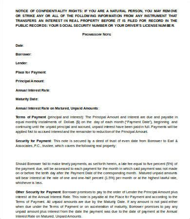 8 Promissory Note Template Word Free Sle Exle Format Free Premium Templates Real Estate Promissory Note Template