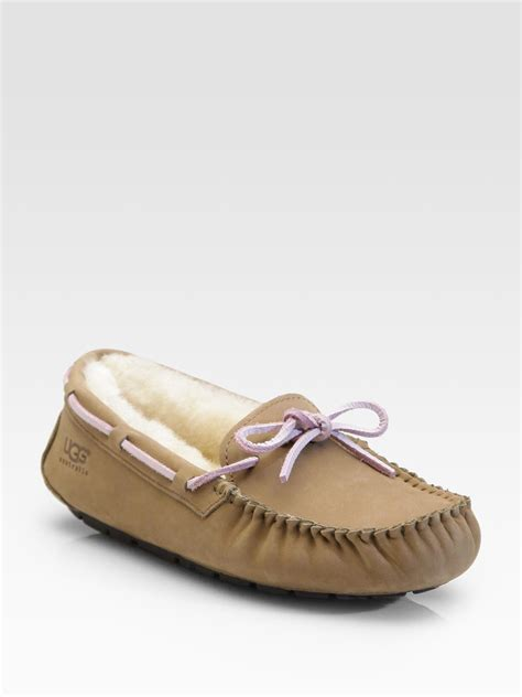 shearling lined slippers ugg dakota suede shearling lined slippers in brown