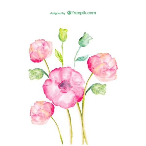 watercolor spring flowers vector free download