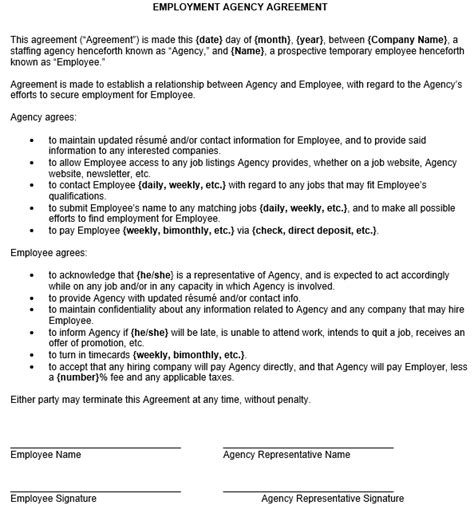 agency agreement template uk employment agency agreement sle